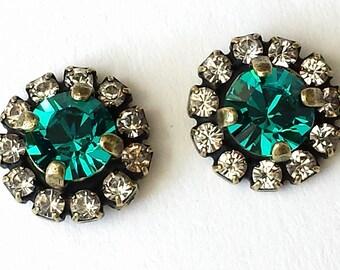 Swarovski Blue Zircon Stud Earrings Swarovski Post Earrings Blue Zircon Crystal Earrings Bridesmaid Jewelry Wedding Jewelry Teal Earrings