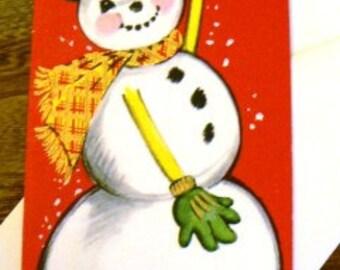 vintage Christmas cards ... Delightful SNOWMAN CHRISTMAS vintage CARD ...