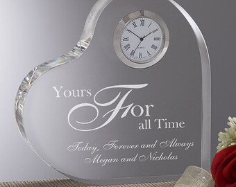 A Time For Love Engraved Heart Clock