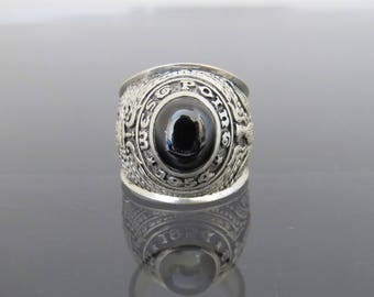 Vintage Sterling Silver 1954 High School Black Onyx Men's Ring Size 9.5