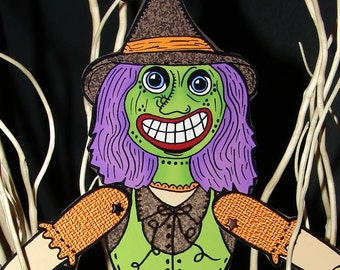 PDF Articutlated Vintage Halloween Broomhilda the Witch Paper doll