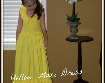 Yellow Maxi Halter Dress for Inants, Toddlers and Girls
