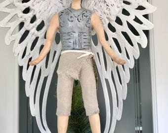 Male Angel Christmas tree topper tree top Angel Handmade Male gay angel Holiday Tree Topper Non-traditional contemporary Christmas tree 14""