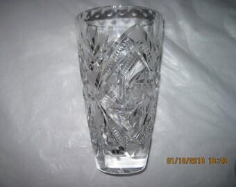 Vintage  Cut Crystal Glass Vase