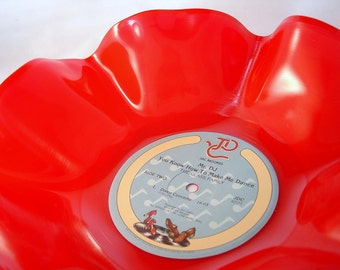 "Red Record Bowl / 12"" Vinyl Record Bowl / Colored Record Bowl / Red Vinyl Record Bowl / Great Housewarming Gift / Modern / Funky / Fun"