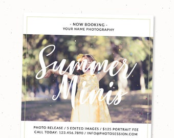 Summer minis template, Photography marketing template postcard, Photography marketing flyer, Photography marketing card, Summer photography