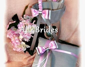 Light pink and grey Wedding Flower Girl Basket and Ring Bearer Pillow Set, Silver Gray Wedding Color, Pink Wedding Color