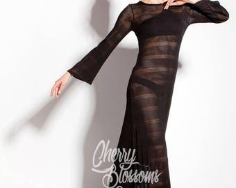 Black knit dress/ Black beach cover up/ Black dress for woman/ Beach dress/ Black long dress/ Black boho wedding dress/Boho dress/ 021.193