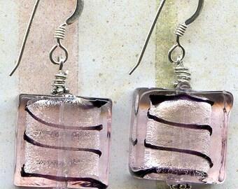 Black in Pink Squares Sterling Silver Earrings