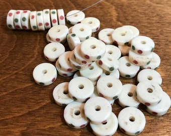 SALE- 50 Inlaid Bone Disc Beads