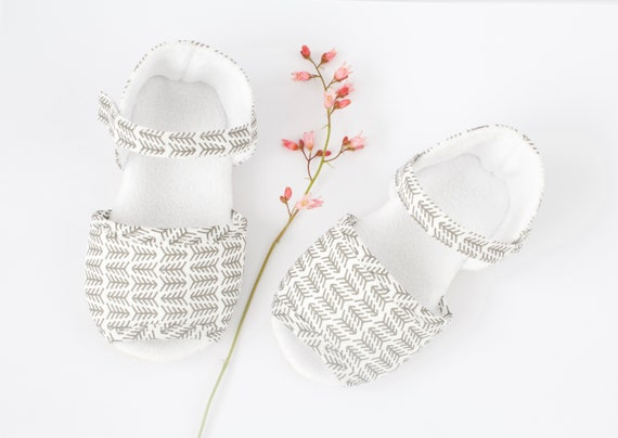 Dark grey and white summer sandals. baby girls crib shoes. baby shower gift