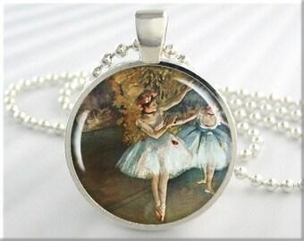 Degas Dancer Pendant, Edgar Degas Ballerina Necklace, Resin Picture Charm, Art Pendant, Dancer Art, Round Silver, Gift Under 20 (206RS)