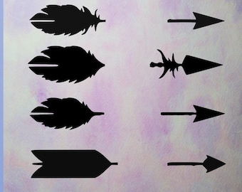 Arrow silhouettes, digital download, Arrows feathers, Arrow svg clipart,