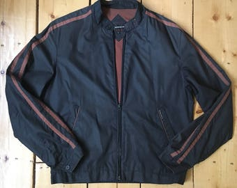 Vintage 80s Black with Racing Stripes Members Only Cafe Racer Bomber Jacket - 42 - Fits Medium/Large