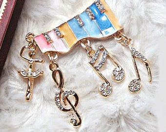Sale !! 1 Piece Music Note Alloy Rhinestone Bling Bling Decoden Piece for your craft projects
