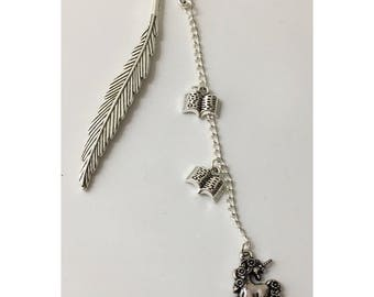 Antique Silver Feather & Unicorn Bookmark