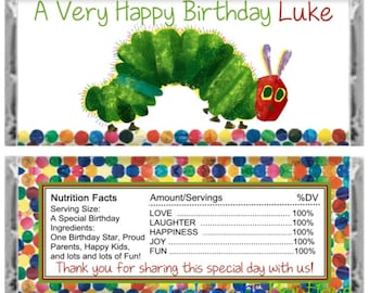 Hungry Caterpillar Inspired Happy Birthday Candy Bar Wrapper Party Favor