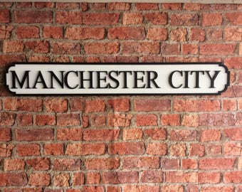 MACHESTER CITY vintage wooden street road sign