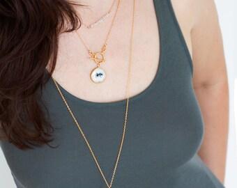 Layering Necklace - Gold Gemstone Necklace -Toggle Clasp Necklace - Gold framed Gemstone Pendant - Lariat Necklace - Stone Pendant