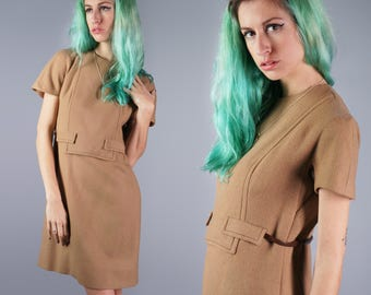 60s Mod Lanz Dress 1960s Wool Dress Belted Dress with attached leather belt Office Dress Career Dress