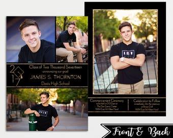 Graduation Announcement - Printable Graduation Announcement - Boy Grad Announcement - Graduation Party Invitation - High School Grad -Custom