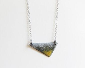Triangle enamel necklace Yellow gray geometric layering pendant Minimalist jewelry Athleisure enameled copper layer necklace