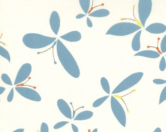 Moda Chrysalis by Sanae Release Cream Turquoise cotton Fabric by the yard 32422-15