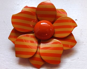 Vintage mod groovy 1960s  enamel flower brooch or pin striped two tone orange layered dimensional