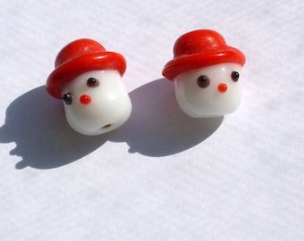 Lampworked Snowman Head Glass Beads ct 5