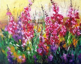 Flower painting decor Palette knife canvas art gift Textured painting Gift flower art Oil knife painting canvas Living room wall art decor
