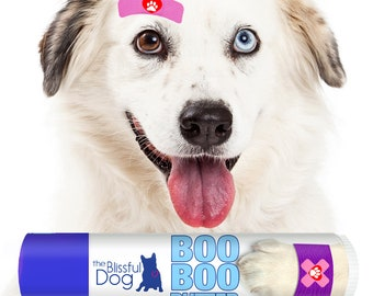 BOO BOO BUTTER All Natural Herbal Balm for your Dog's Minor Skin Irritation Available in Tins and Tubes with Bandaged Paw Label