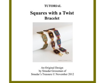 Beading Tutorial, Squares with a Twist Bracelet. Beading Pattern with Cube and Seed Beads. Beadweaving Instructions PDF File, Beadwork