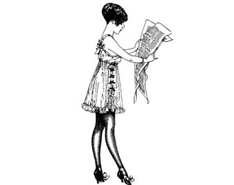Sexy Lady Reading Newspaper Vintage Illustration Embossing Red Rubber Cling Foam Stamp