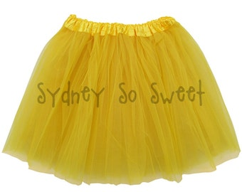 Yellow - PLUS Size XL or Extra Plus XXL Adult, Teen, Women's 3 Layer Ballet Tutu Skirt - Three Layers, Costume, Running, 5K, Party Skirt
