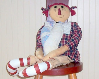 "Raggedy Ann, Primitive, Handmade, 27"" Tall, Ant quilt collar, Navy & Barn Red"