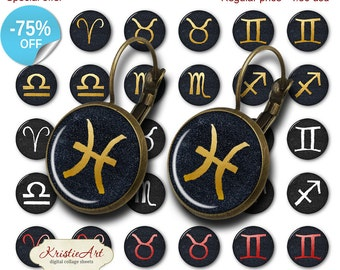 75% OFF SALE Zodiac - 18mm, 16mm, 14mm, 12mm, 10mm Circles Digital Collage Sheets E-023 Printable Earring, Rings, Jewelry, Zodiac Signs