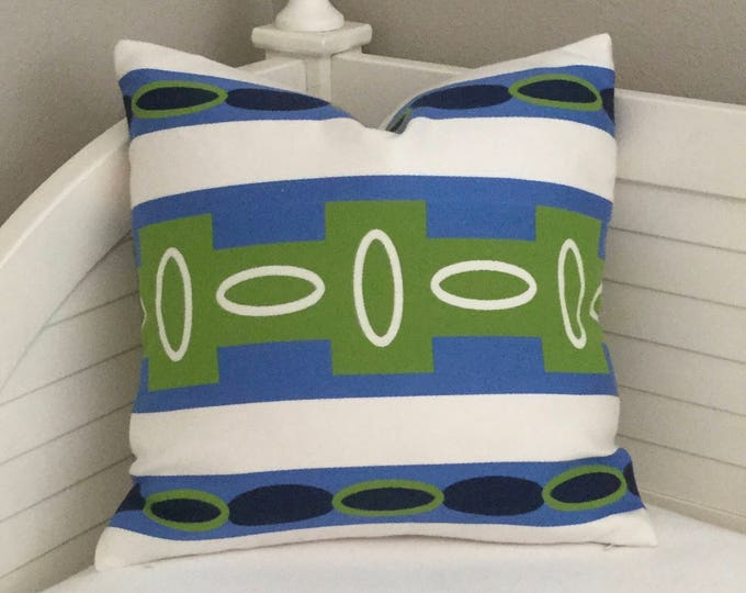 Aventura Stripe in Azure  (on Both Sides)  Outdoor Indoor  Pillow Cover, Blue and Green Pillow,  Square, Lumbar and Euro Pillows