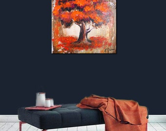 """Landscape abstract painting of a MAGENTA ORANGE TREE by Dranitsin 24x24"""""""