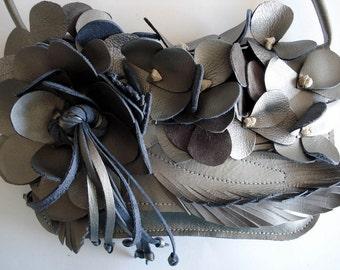 Shoulder Bouquet Clutch bag in molten Silver leather