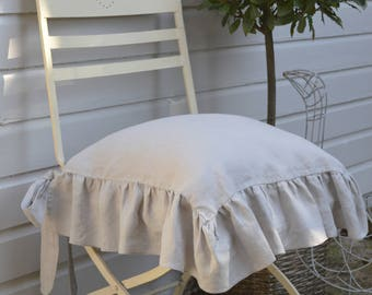 Linen Slip Cover, Chair Cover, Ruffled Chair Cover, Ruffled Seat cover, Shabby Chic, Farmhouse Table, Ruffle FRONT/SIDES only
