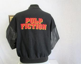 90s L Pulp Fiction Leather Sleeves Baseball Jacket Black Alliance Video Promo