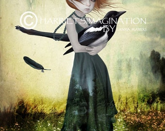 Big eyes art | big eyes girl & bird | Magpie wall art | Popsurrealism art print | Bird wall art | Mixed media art | One for sorrow