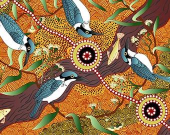 Australian Fabric - Bird Print - Aboriginal Fabric - Nambooka -  Kingfisher - Yellow - Priced by the half yard