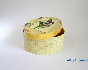 Flower Gold Ecru Beige Trinket Jewelry Decoupage Box