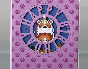 Purple Puppy Shaker Card