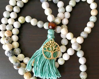 New Jade 108 Mala; New Jade aka Serpentine; Blue/Green Tassel; Meditation beads; Prayer beads; Yoga Jewelry; Tassels;