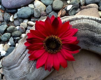 Red Sunflower Rustic Country Silk Flower hair clip
