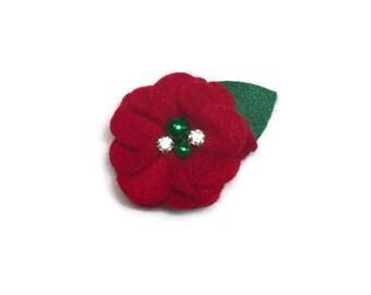 Christmas Bling Red Rose Dog Collar Flower