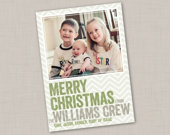 Soft Chevron Photo Holiday Card (Vertical)