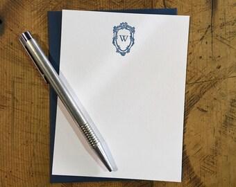 Custom Letterpress Notecards - Bembo & Roses Monogram